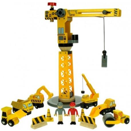 Bigjigs Toys - BJT200 - Duży Dźwig do Kolejek Drewnianych z Pojazdami Budowlanymi