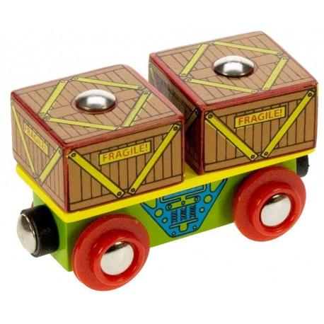 Bigjigs Toys - BJT406 - Wagon ze Skrzyniami - do Kolejek Drewnianych
