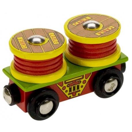Bigjigs Toys - BJT407 - Wagon z Kablami - do Kolejek Drewnianych