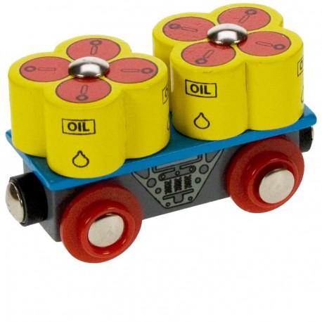 Bigjigs Toys - BJT405 - Wagon z Beczkami z Olejem - do Kolejek Drewnianych