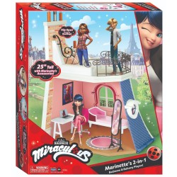Playmates MIRACULOUS MIRACULUM BIEDRONKA I CZARNY KOT Domek Pokój Marinette z Balkonem + Akcesoria 50660