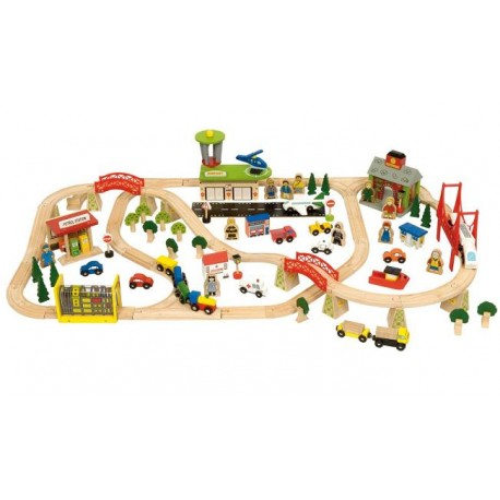 Bigjigs Toys - BJT018 - Kolejka Drewniana - Transport Pasażerski - 125 el