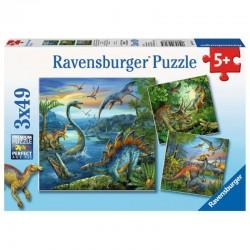 RAVENSBURGER Puzzle Układanka 3x49 Elementów FASCYNACJA DINOZAURAMI 093175