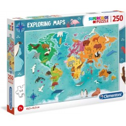 CLEMENTONI Układanka Puzzle 250 Elementów SuperColor Mapa Świata ZWIERZĘTA 29063