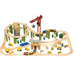 Bigjigs Toys - BJT019 - Kolejka Drewniana - Plac Budowy - 116 el