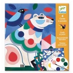 DJECO Zestaw Artystyczny Kolorowanka z Farbami KOLOROWE ZWIERZĘTA 09658