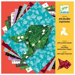DJECO - 08763 - Zestaw Origami 100 sztuk! - Kolorowy Papier ORIGAMI