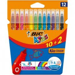 BIC Flamastry Zestaw Flamastrów 12 Kolorów KID COULEUR 03226