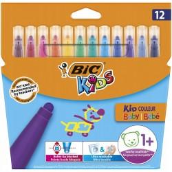 BIC Flamastry Zestaw Grubych Flamastrów 12 Kolorów KID COULEUR BABY 07056
