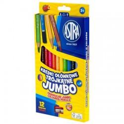 Astra Kredki Ołówkowe Trójkątne JUMBO 12 Kolorów 0498
