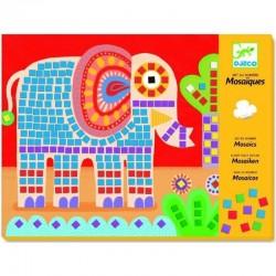 DJECO - 08895 - Zestaw Mozaik - Mozaika Przyklejana - MOZAIKA SŁOŃ I ŚLIMAK