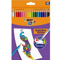BIC Zmazywalne Kredki Ołówkowe Zestaw Kredek z Gumką KIDS EVOLUTION ILLUSION 18 Kolorów 51845