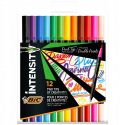 BIC Pisaki Zestaw Dwustronnych Flamastrów 12 Kolorów INTENSITY DUAL TIP 9568