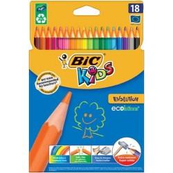 BIC Kredki Ołówkowe Zestaw Kredek Ekologicznych KIDS EVOLUTION ECOLUTIONS 18 Kolorów 0154