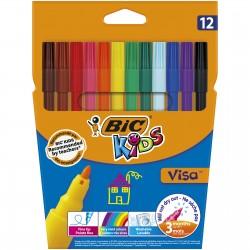 BIC Pisaki Zmywalne Zestaw Flamastrów KIDS VISA 12 Kolorów 2758
