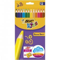 BIC KIDS Kredki Ołówkowe Zestaw Kredek JUMBO Super Soft 12 Kolorów 15386