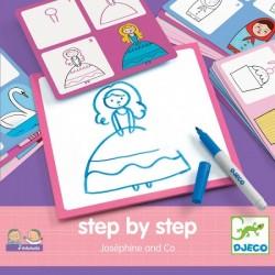 DJECO - 08320 - Zestaw do Nauki Rysowania - Rysowanie Krok po Kroku - Josephine & Co - KSIĘŻNICZKI I PRZYJACIELE