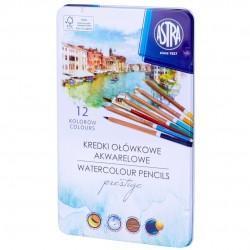 ASTRA Zestaw Kredek Kredki Ołówkowe Akwarelowe z Drewna Cedrowego 12 Kolorów 5104