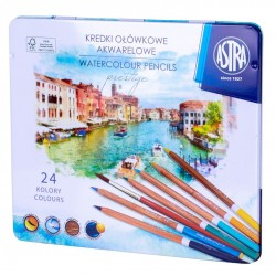 ASTRA Zestaw Kredek Kredki Ołówkowe Akwarelowe z Drewna Cedrowego 24 Kolorów 5111