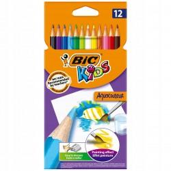 BIC Zestaw Kredek Kredki Ołówkowe Akwarelowe KIDS AQUACOULEUR 12 Kolorów 00280