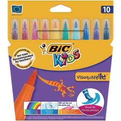 BIC Pisaki Pędzelkowe Zestaw Flamastrów KIDS VISAQUARELLE 10 Kolorów 01553