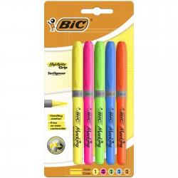BIC Zestaw Zakreślaczy Zakreślacz HIGHLIGHTER GRIP 5 Kolorów 0688