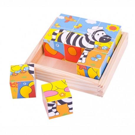 BigJigs Toys - BJ512 - Klocki Puzzle Drewniane 9 - Safari