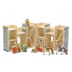 Melissa & Doug - 13702 - Drewniany Zamek Rozkładany - Szary