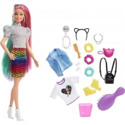 MATTEL Lalka Barbie + Akcesoria PANTERKOWA FRYZURA GRN81