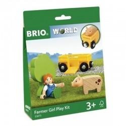 BRIO Zestaw z Farmerką Wagon ze świnką 33875