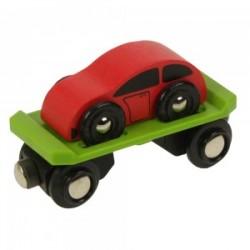 Bigjigs Toys - BJT442 - Wagon Laweta z Samochodem - do Kolejek Drewnianych