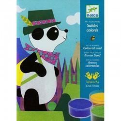 DJECO 08630 Malowanie Piaskiem - Zestaw Artystyczny PANDA I PRZYJACIELE