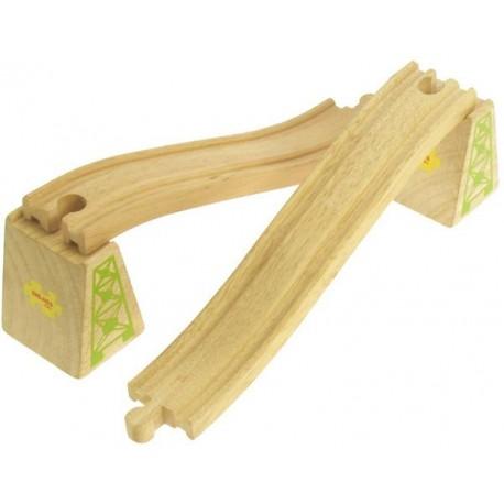 Bigjigs Toys - BJT113 - Zestaw Dwóch Torów Podjazdowe i Zjazdowe - do Kolejek Drewnianych