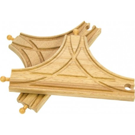 Bigjigs Toys - BJT108 - Rozjazd Skrzyżowanie Typu T - do Kolejek Drewnianych