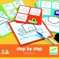 DJECO - 08322 - Zestaw do Nauki Rysowania - Rysowanie Krok po Kroku - Geo & Co - GEO I PRZYJACIELE