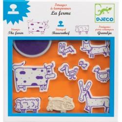 DJECO 08809 - Zestaw Artystyczny z Pieczątkami - STEMPELKI FARMA