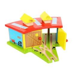 Bigjigs Toys - BJT119 - Zajezdnia dla 3 Pociągów - do Kolejek Drewnianych