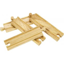 Bigjigs Toys - BJT101 - Zestaw 4 Torów Średnich Prostych - do Kolejek Drewnianych