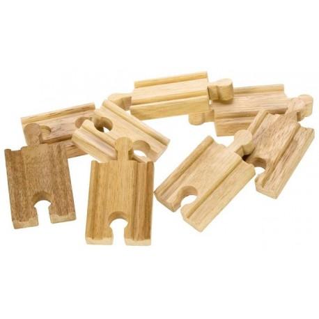 Bigjigs Toys - BJT104 - Zestaw 8 Torów Krótkich Prostych - do Kolejek Drewnianych