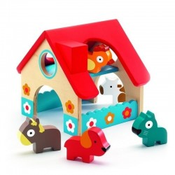 DJECO 06388 - Drewniany Domek z Figurkami - MINIFARMA