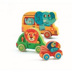 DJECO 01251 Układanka - Drewniane Puzzle Samochody - PACHY I PRZYJACIELE