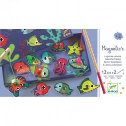 DJECO 01653 - Układanka Magnetyczna - Gra Zręcznościowa - MAGNETYCZNE WĘDKOWANIE KOLORY