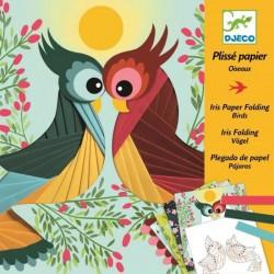 DJECO 09443 - Zestaw Artystyczny z Papierem Irys - PLISY PTASZKI