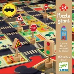DJECO 07161 Układanka - Puzzle Gigant 24 - Miejskie Ulice i Znaki Drogowe - MIASTO