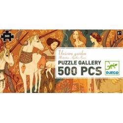 DJECO 07624 Układanka - Puzzle Gallery 500 i Plakat - OGRÓD JEDNOROŻCÓW