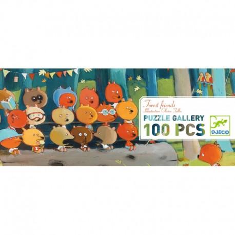 DJECO 07636 Układanka - Puzzle Gallery 100 i Plakat - LEŚNI PRZYJACIELE