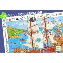 DJECO 07506 Układanka - Puzzle Obserwacja 100 i Plakat - PIRACI