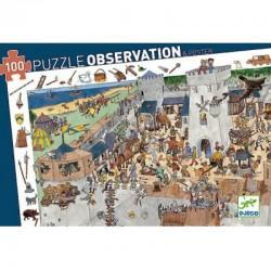 DJECO 07503 Układanka - Puzzle Obserwacja 100 i Plakat - OBLĘŻENIE ZAMKU