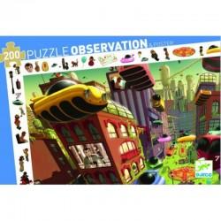 DJECO 07459 Układanka - Puzzle Obserwacja 200 i Plakat - MIASTO PRZYSZŁOŚCI