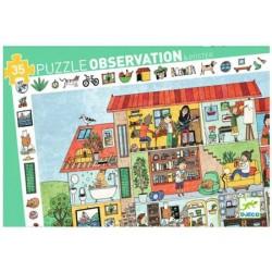 DJECO 07594 Układanka - Puzzle Obserwacja 35 i Plakat - DOM